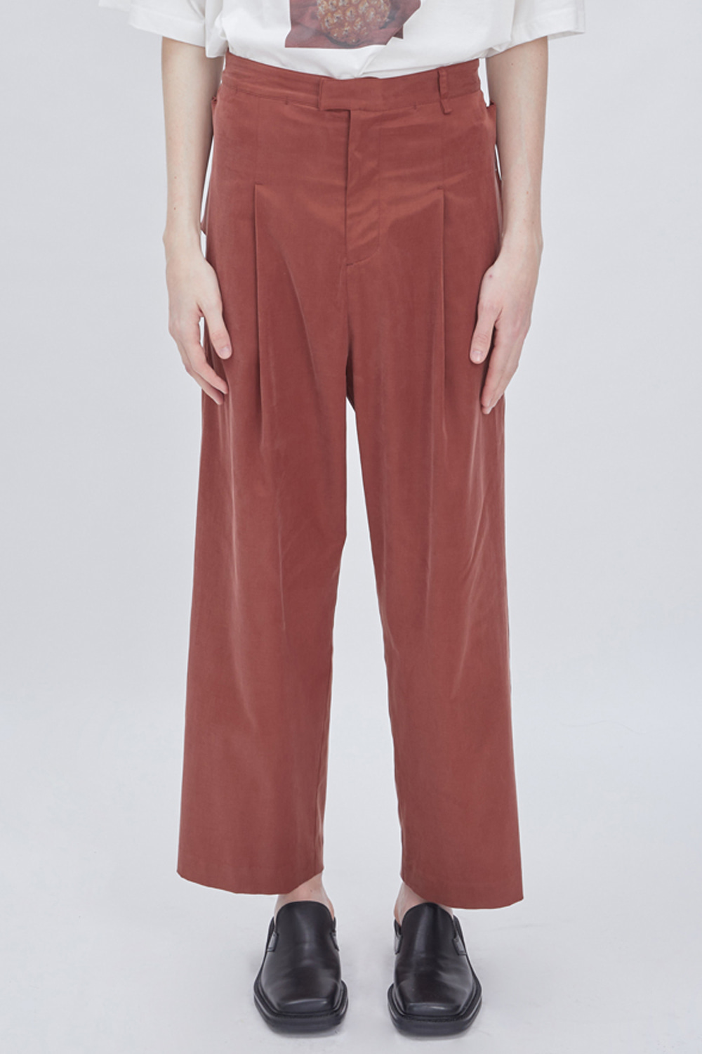 SIDE POCKET WIDE PANTS (WINE)