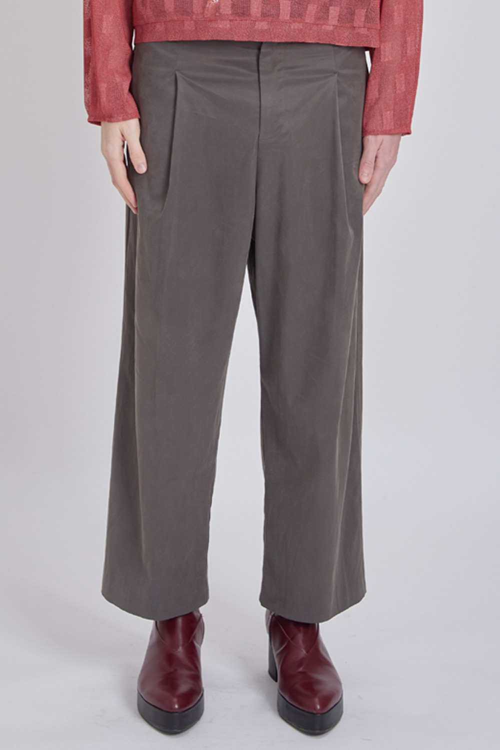 SIDE POCKET WIDE PANTS (KHAKI GREY)