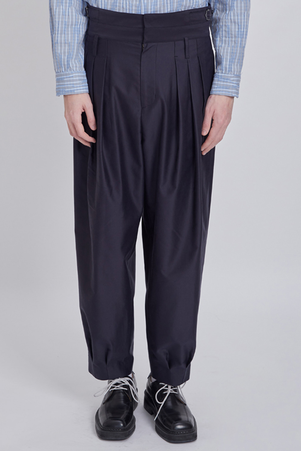DOUBLE WAIST TAPERED PANTS (DARK NAVY)