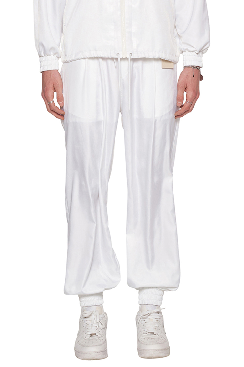 WHITE NYLON TRACK PANTS