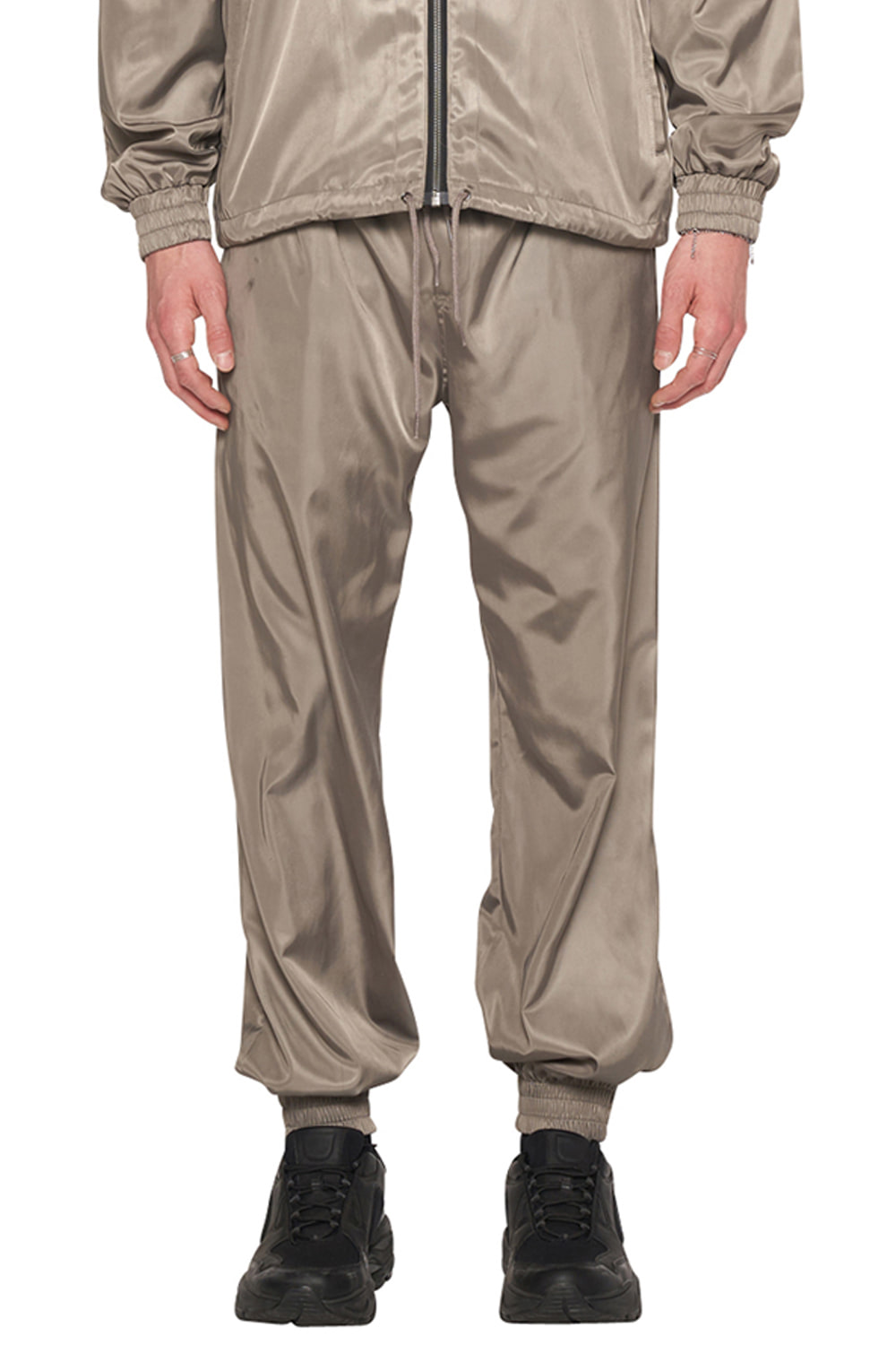 GREY NYLON TRACK PANTS