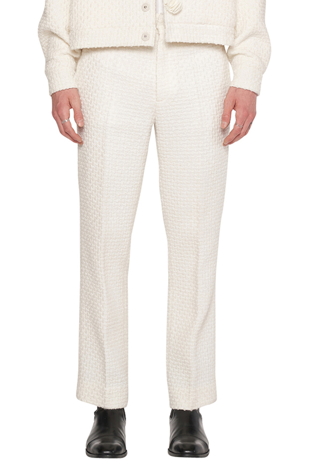 WHITE TWEED PANTS