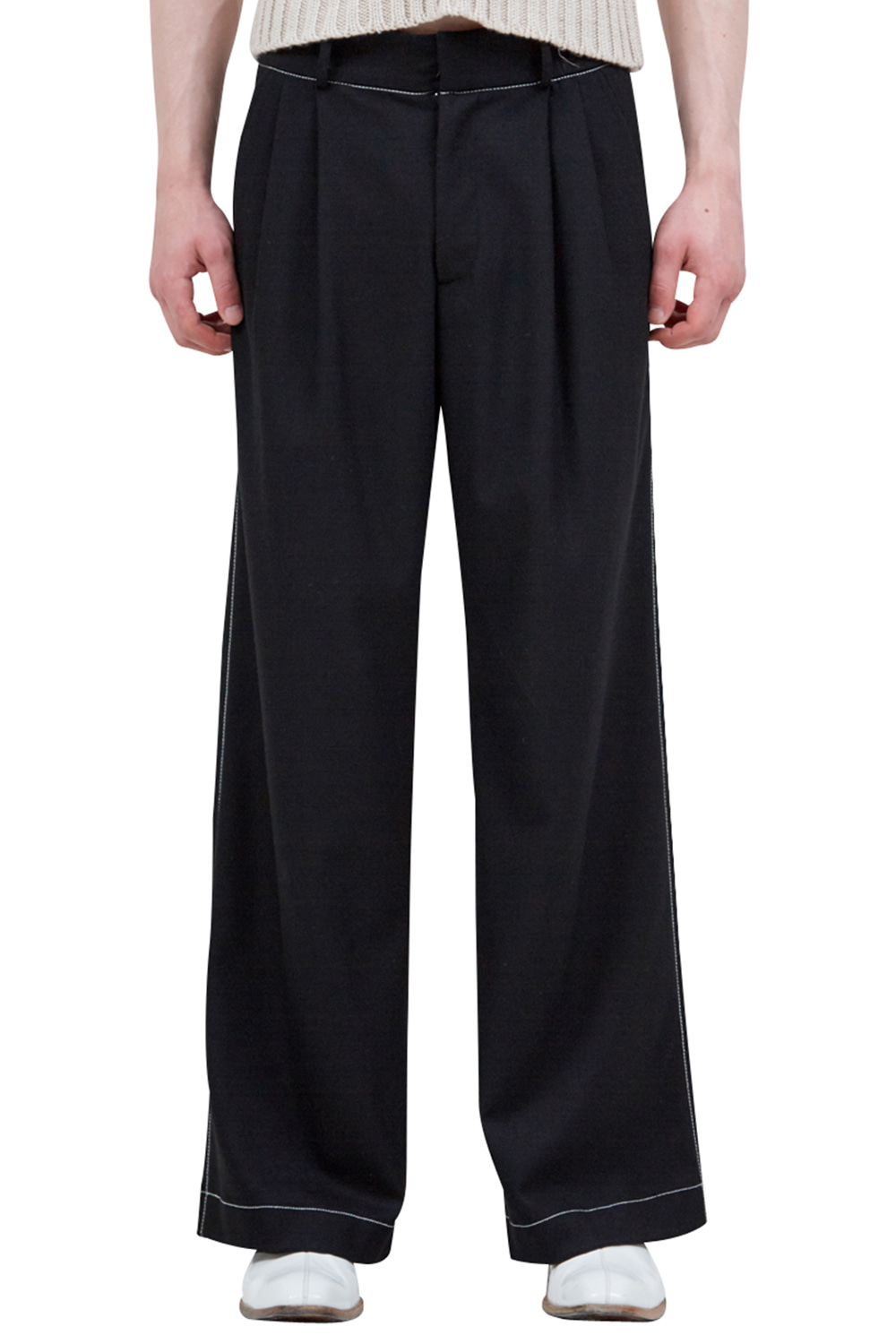 TOP-STITCHED WOOL TROUSERS