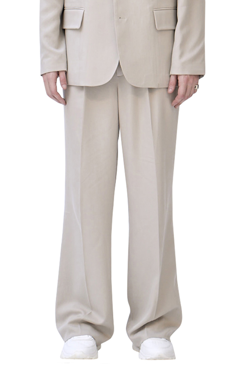 UNISEX IVORY WIDE LEG TROUSERS