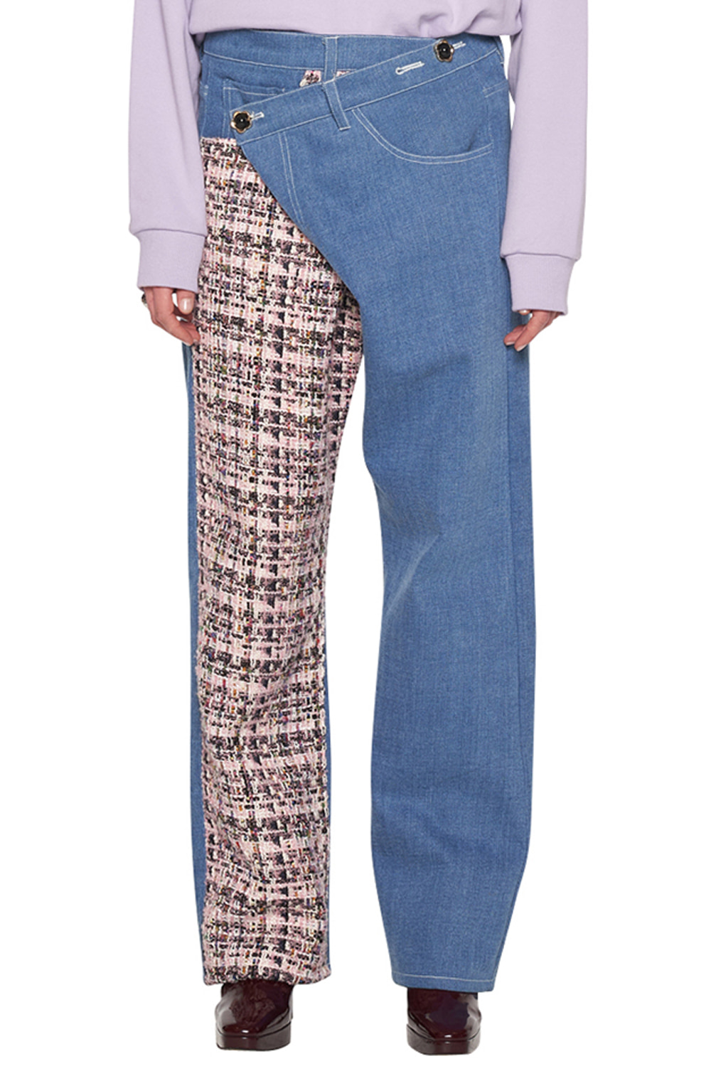 PINK TWEED PATCHED JEANS