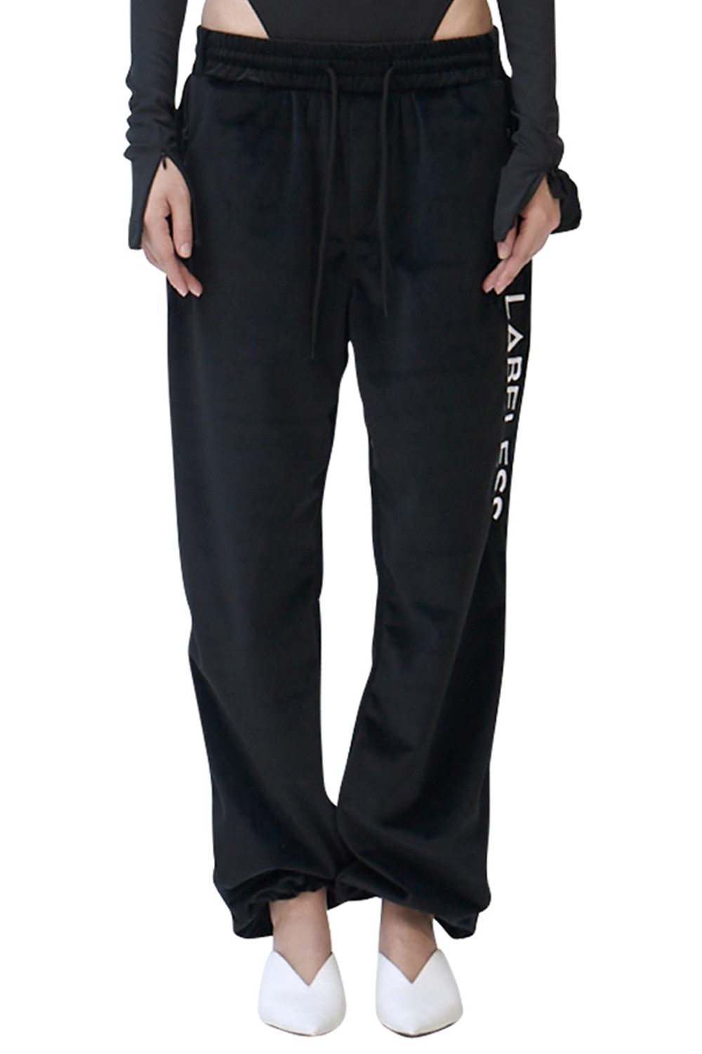 BLACK SIDE LOGO SILKY LOUNGE TROUSERS