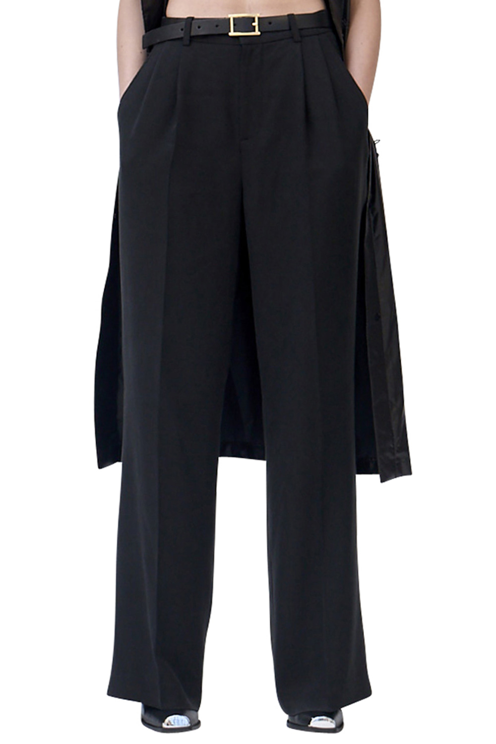 UNISEX BLACK WIDE LEG TROUSERS