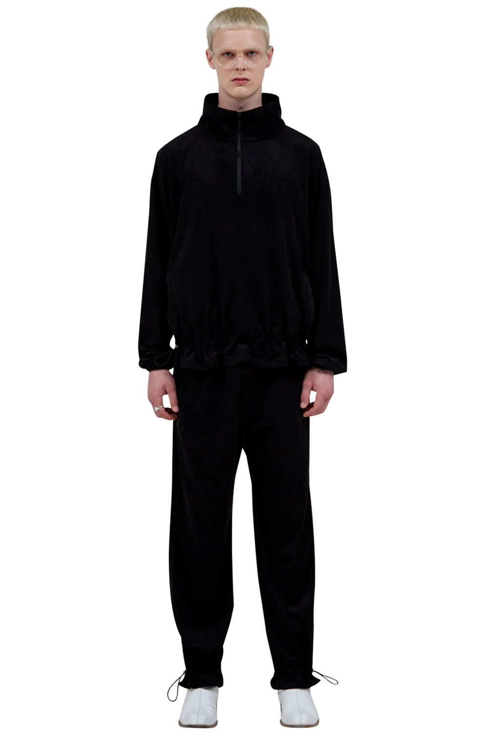 BLACK CORDED SUEDE PANTS