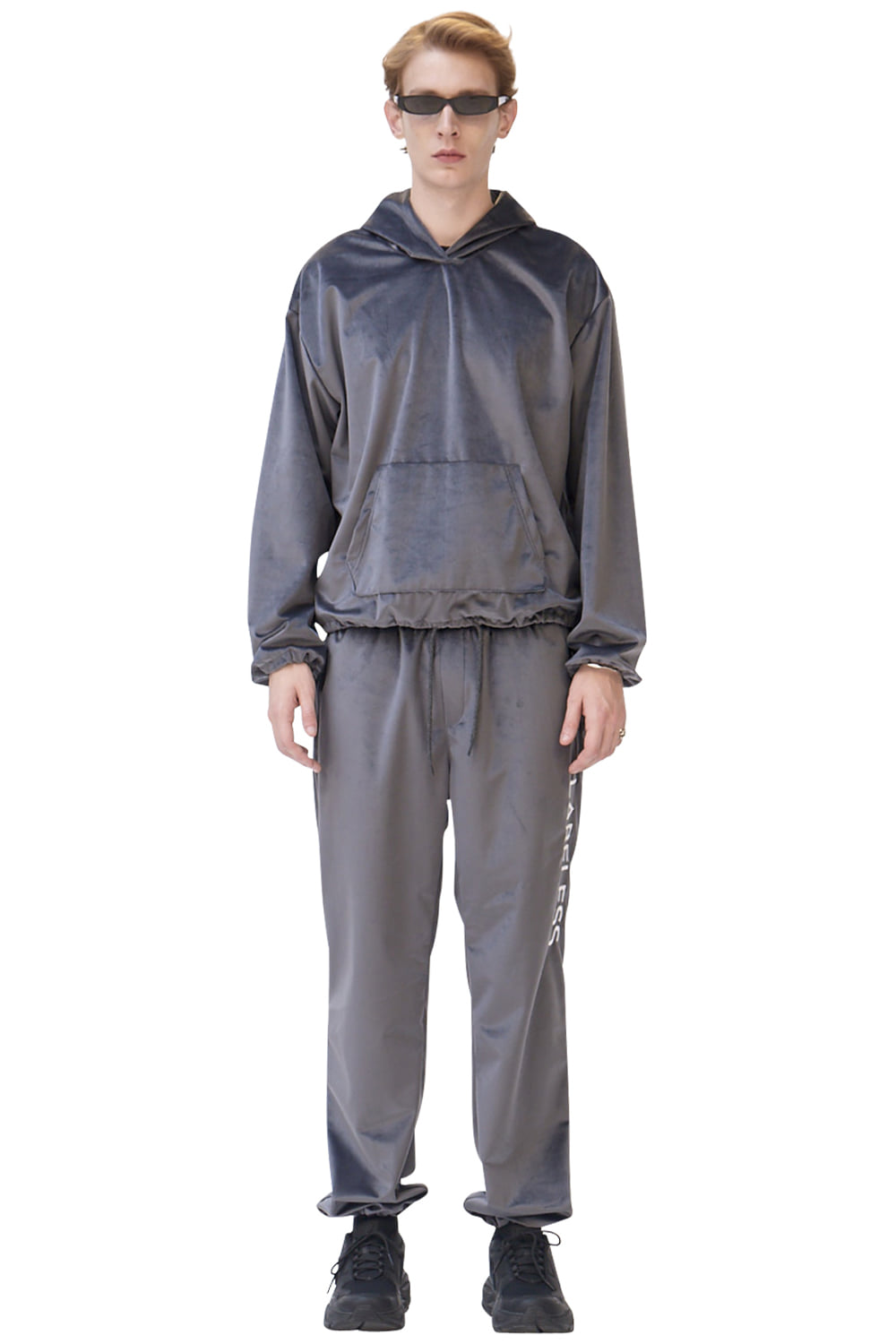 GREY SIDE LOGO SILKY LOUNGE TROUSERS