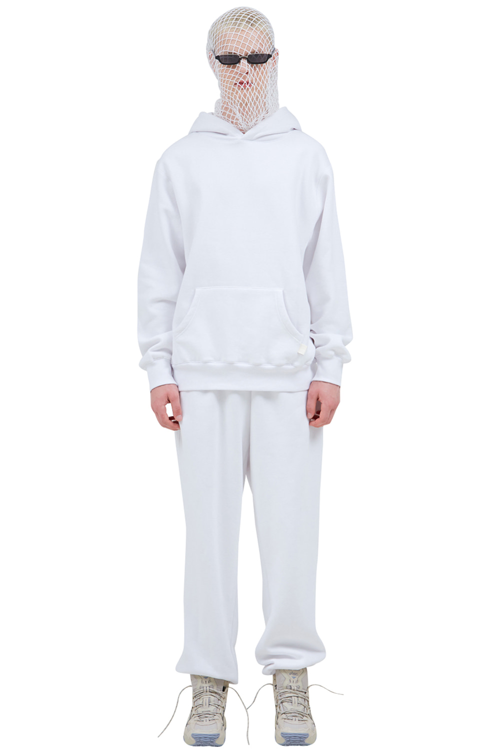 WHITE SIGNATURE LABEL TRACK PANTS