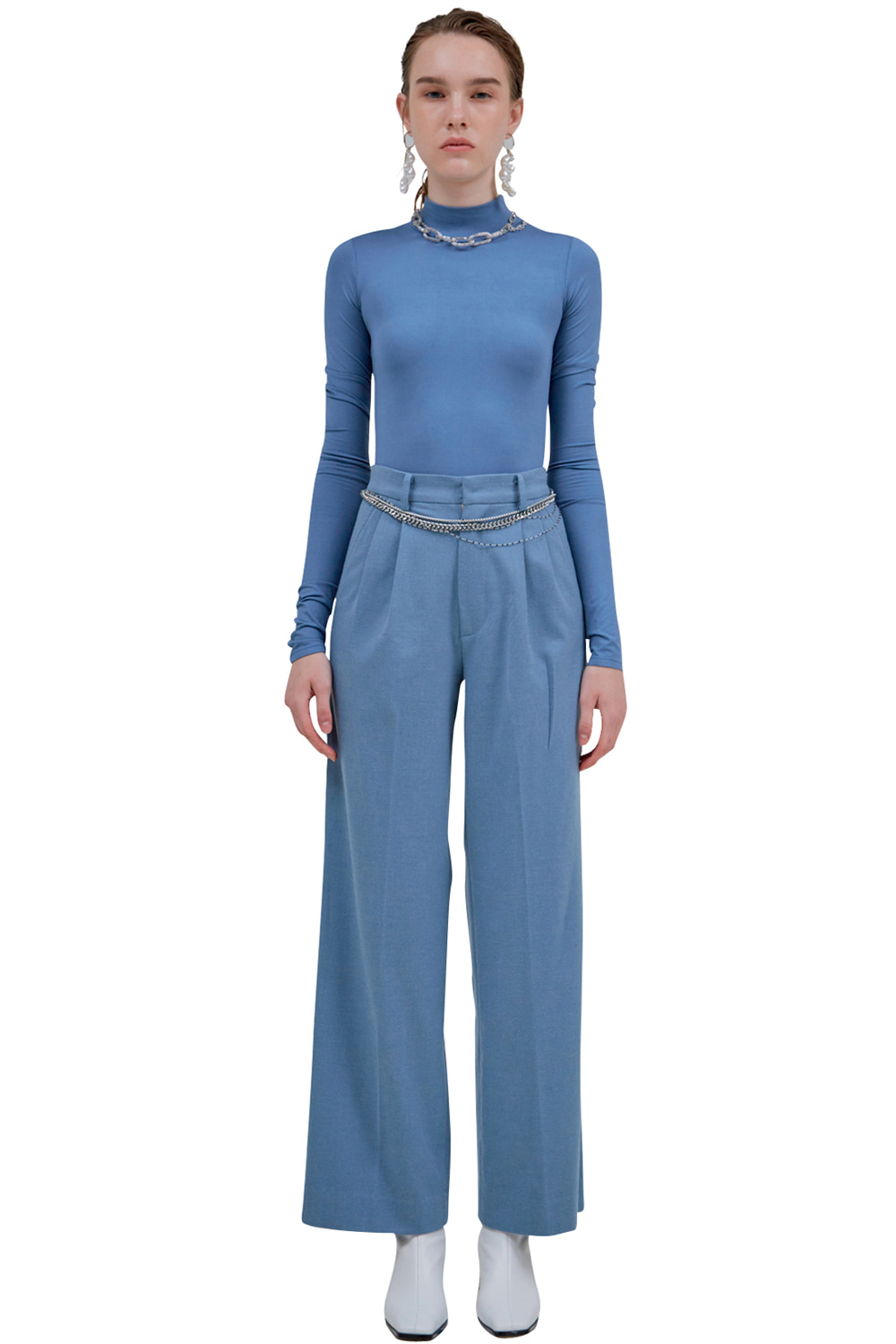 SKY-BLUE WOOL TROUSERS